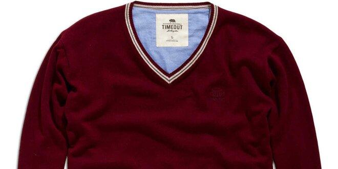 Pánský vínový svetr s véčkovým výstřihem Timeout