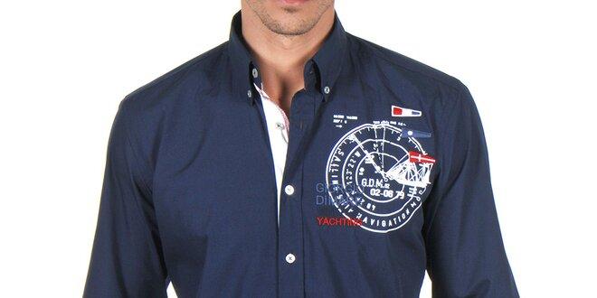 Pánská tmavomodrá košile s výšivkami Giorgio di Mare  dd776f5a30