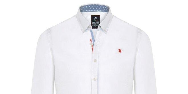 Pánská bílá košile s modrými a červenými prvky Giorgio di Mare ... 6a57130ba5