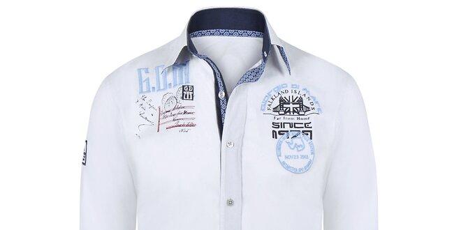 Pánská bílá zdobená košile Giorgio di Mare  a44c97bf6e
