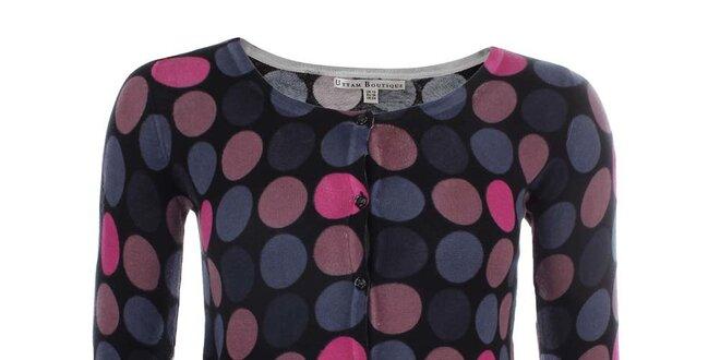 Dámský černý svetřík s barevnými puntíky Uttam Boutique