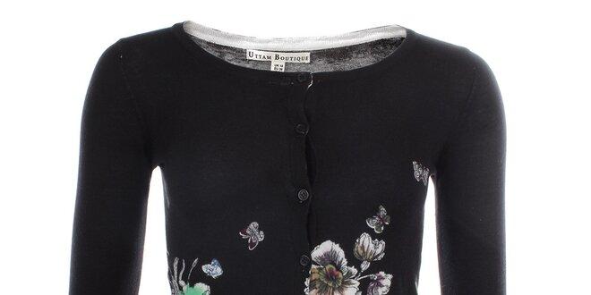 Dámský černý propínací svetr s květy Uttam Boutique