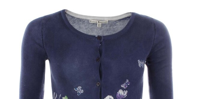 Dámský modrý svetřík s květinovým vzorem Uttam Boutique