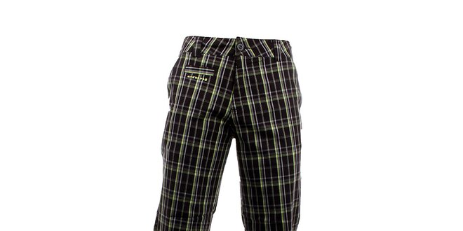Pánské tmavé kostkované kalhoty Envy se zářivými proužky  449324f60a