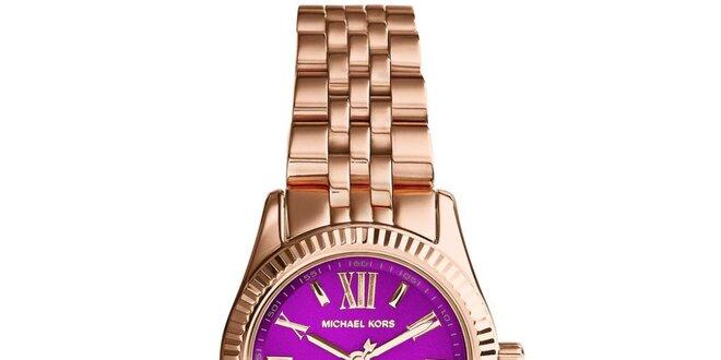 Dámské hodinky s fialovým ciferníkem a římskými číslicemi Michael Kors -  růžově… 447440cf31f