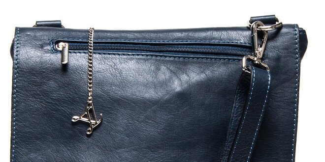 Dámská modrá kožená kabelka s klopou Luisa Vannini  09c867b2183