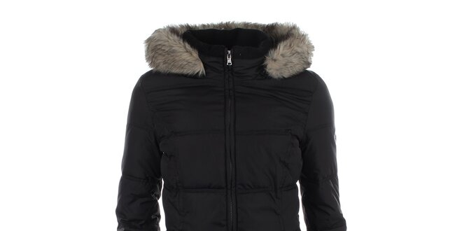Dámský černý prošívaný kabát s kapucí a kožíškem Halifax  c0ba842727