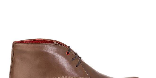3c560896e4 Pánské kožené hnědé prošívané kotníkové boty Crash Shoes