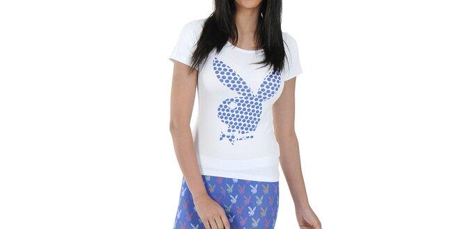 Dámské pyžamo Playboy - bílé triko a vzorované kalhoty