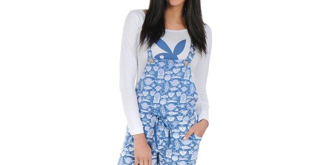 Dámské bílo-modré pyžamo se šlemi Playboy
