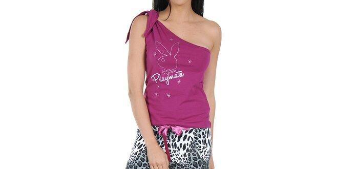 Dámské pyžamo Playboy - fuchsiový top a vzorované kalhoty