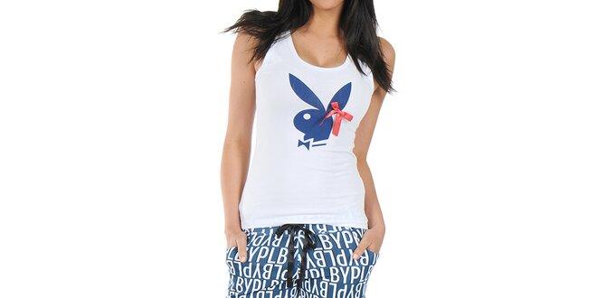 Dámské pyžamo Playboy - tílko s mašličkou a dlouhé modré kalhoty s potiskem