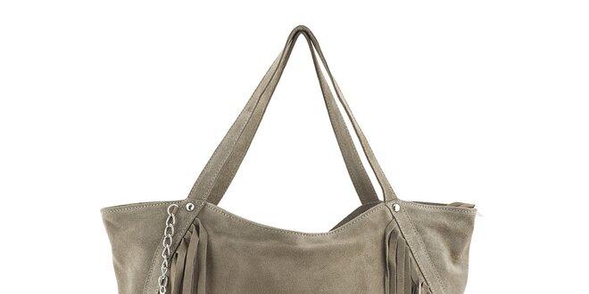 Dámská béžová kožená kabelka s třásněmi a řetízkem Class Regina ... 4e692de01f4