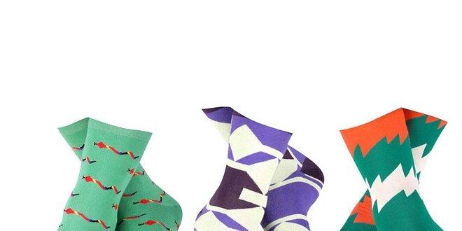 Set barevných pánských vzorovaných ponožek Happy Socks - 3 páry