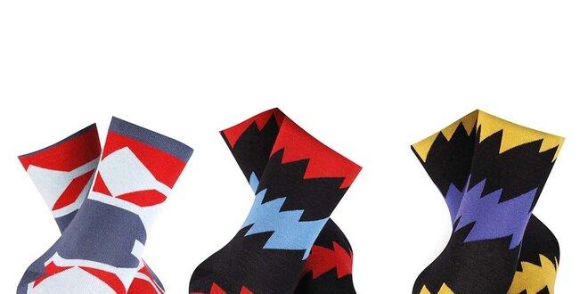 Set pánských barevných vzorovaných ponožek Happy Socks - 3 páry