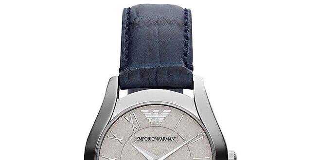 Dámské analogové hodinky s tmavě modrým řemínkem Emporio Armani ... 12815c9801