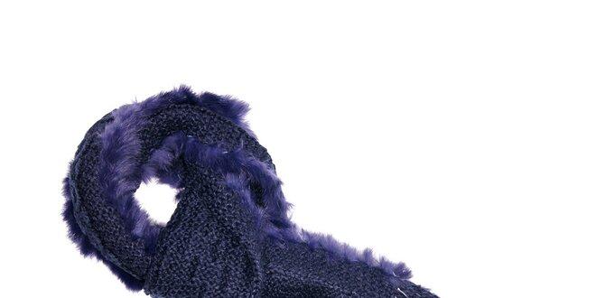 Pletená šála v barvě noci protkaná králičí kožešinou značky Hope 1967