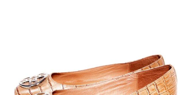 Béžové kožené baleríny značky Hope 1967 v imitaci krokodýlí kůže