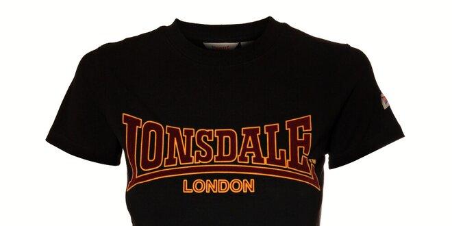 fa13851fea47 Dámské černé tričko Lonsdale se semišovým potiskem