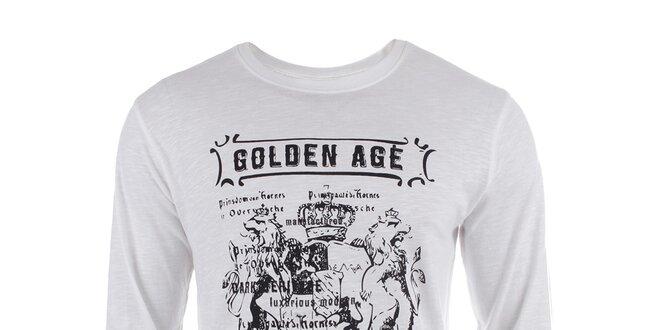 Pánské bílé triko s dlouhým rukávem a potiskem Big Star  9c8d894362