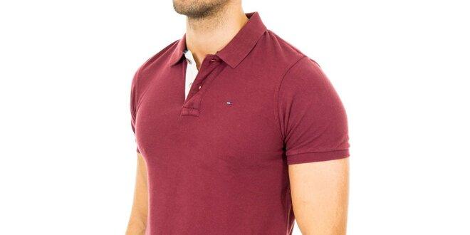 Pánské vínové polo tričko Tommy Hilfiger  1d2b5a20481