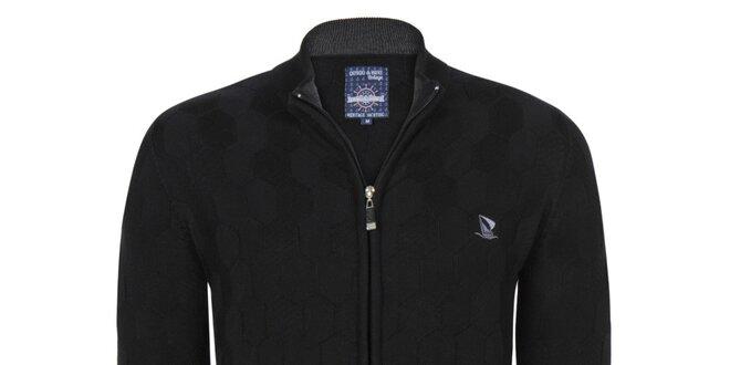 Pánský černý svetr se zipem Giorgio Di Mare  eec6268f73