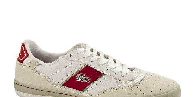 Pánské bílo-béžové tenisky Lacoste s červeným pruhem  63ce81e608c