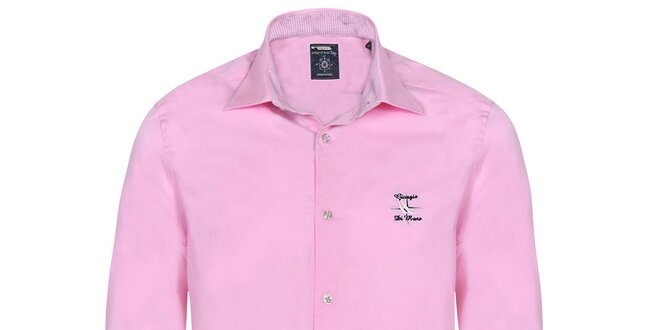 Pánská světle růžová košile s výšivkami Giorgio di Mare  5562449749