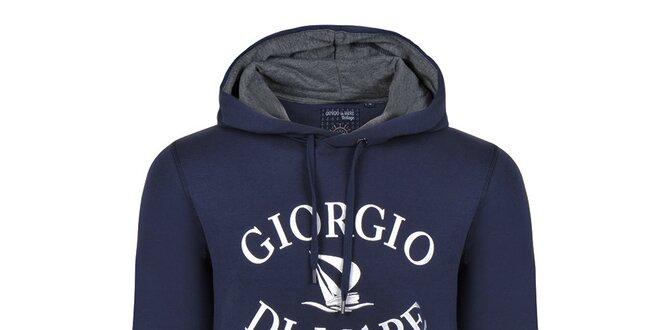 Pánská tmavě modrá mikina s bílým nápisem Giorgio Di Mare