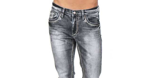 Pánské šedé kalhoty s výrazným prošíváním Giorgio Di Mare