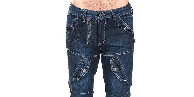 Pánské modré kalhoty s kapsami Giorgio Di Mare