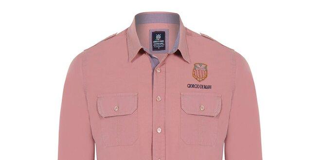 Pánská košile s kapsami Giorgio Di Mare - jemný broskvový odstín ... b05666194a