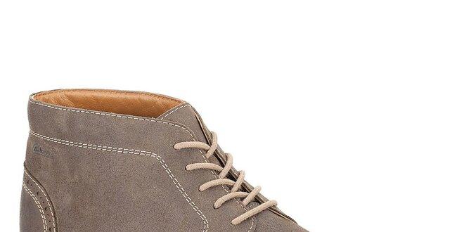 Pánské šedé semišové kotníkové boty se šněrováním Clarks