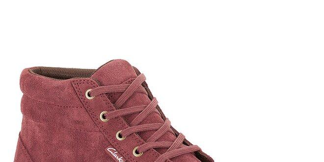 Pánské semišové kotníkové tenisky ve vínové barvě Clarks