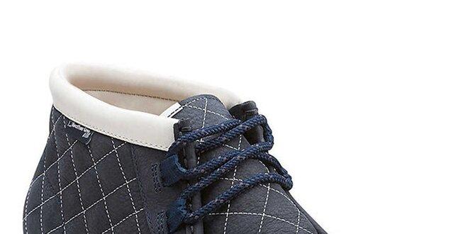 Pánské tmavě modré prošívané kotníkové boty Clarks