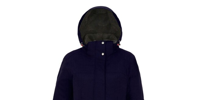 Dámský modrý kabát s kapucí Maier