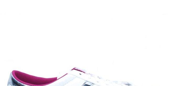Dámské bílé tenisky se stříbrnými pruhy Adidas  5efc334312