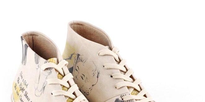 Dámské nízké krémové šněrovací boty s Marilyn Monroe Dogo