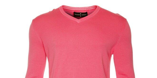 Pánský růžový svetr s výstřihem do V Roberto Verino  79e54b5c9c