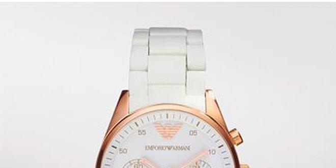 Dámské hodinky Emporio Armani z bílé keramiky a oceli v barvě růžového zlata cf4ffe040f