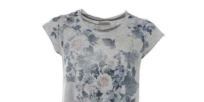 Dámské šedé dlouhé tričko s květinovým potiskem Zu Elements ... 3249e4bc48