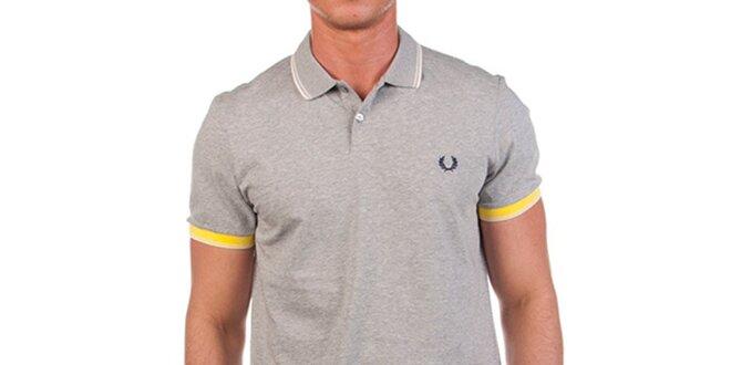 4fffcd4848c7 Pánské šedé polo tričko se žlutými detaily Fred Perry (XXL ...
