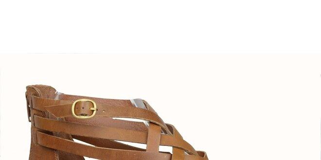 7d297f7b439f Dámské hnědé kožené gladiátorky Bullboxer