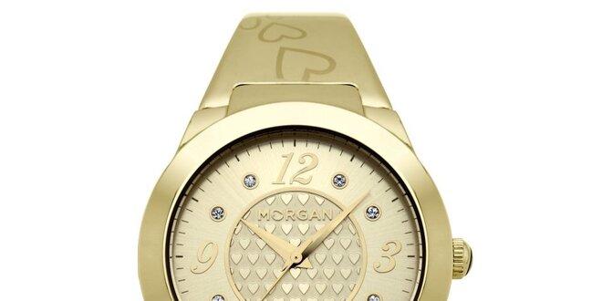 Dámské zlaté matné hodinky s krystaly Morgan de Toi  8348644529