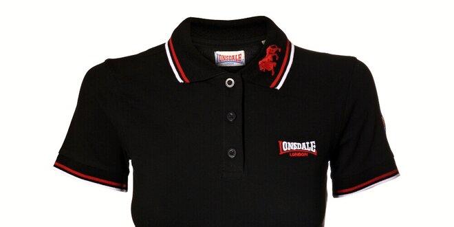 Dámské černé polo Lonsdale s bílým a červeným proužkem