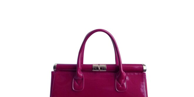 Dámská fuchsiová lakovaná kabelka London Fashion