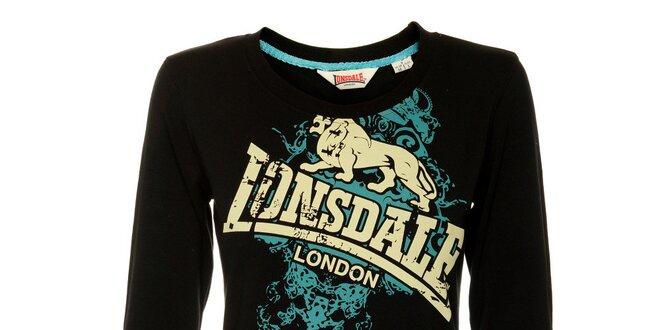 Dámské černé tričko s dlouhým rukávem Lonsdale a potiskem