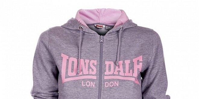 Dámská světle šedá melírovaná mikina Lonsdale s kapucí a růžovým potiskem
