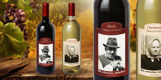 Španělské víno v láhvi s vaší fotkou a textem