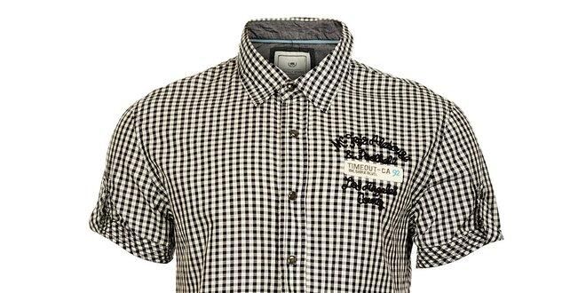 Pánské černobílá košile Timeout s krátkým rukávem  3a054c3659